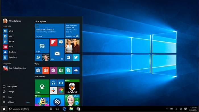 il desktop di windows 10